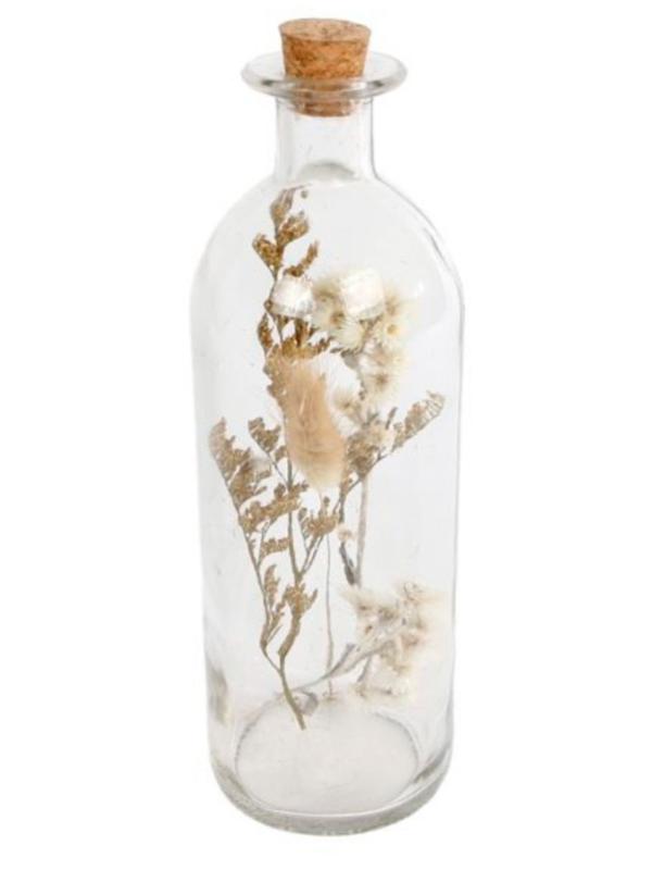 fles met droogbloemen 6,7x6,7x21,5