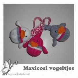 Maxicosi vogeltjes grijs, roze, wit