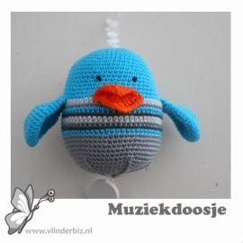 Muziekvogel aqua, grijs, wit