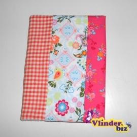 Schrifthoesje in bloemetjes roze en oranje