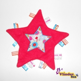 Knuffeldoekje ster rood wit aqua roze en oranje