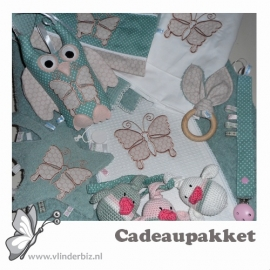 Cadeaupakket oudgroen oudroze vlinder
