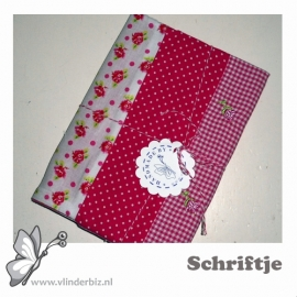 Schrifthoesje in roze en wit