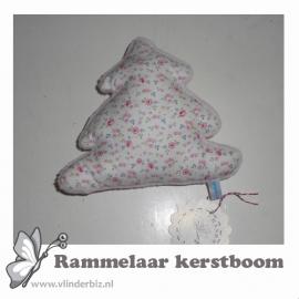Rammelaar kerstboom lichtroze knuffelfleece minibloemetje