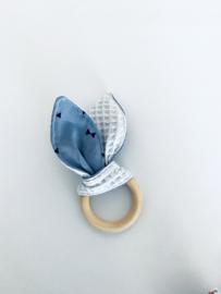 Konijnenoortjes lichtblauwe wafel, jeansblauw