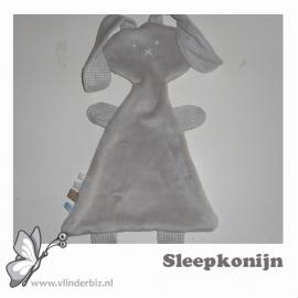 Sleepkonijn beige knuffelfleece ruitjes
