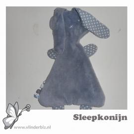 Sleepkonijn grijs knuffelfleece stip wit grijs