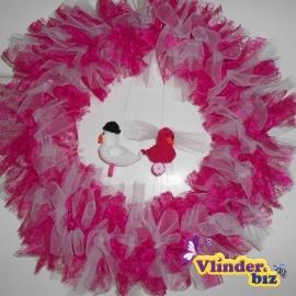 Bruidskrans roze wit vogeltjes