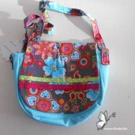 Meisjes schoudertasje aqua spijkerstof met bloemen