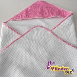 Badcape wit, roze stip