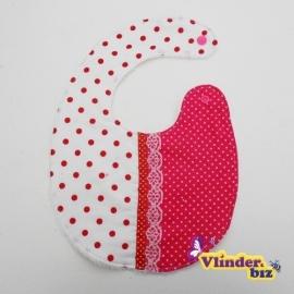 Slabbetje roze, rood en wit, wit en rood bandje