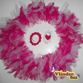 Bruidkrans roze wit hartjes