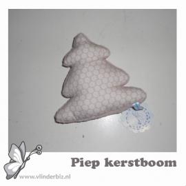 Piep kerstboom oudroze knuffelfleece bloemetje