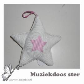 Muziekdoos ster gehaakt wit en lichtroze