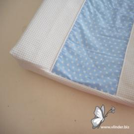 Aankleedkussenhoes wafel wit lichtblauw