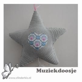 Muziekster lichtgrijs roze