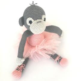 Ballerina aapje grijs en oudroze
