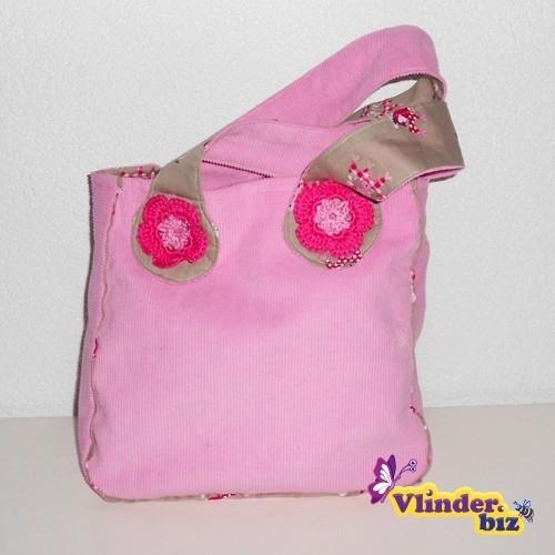Meisjestasje roze rib en beige