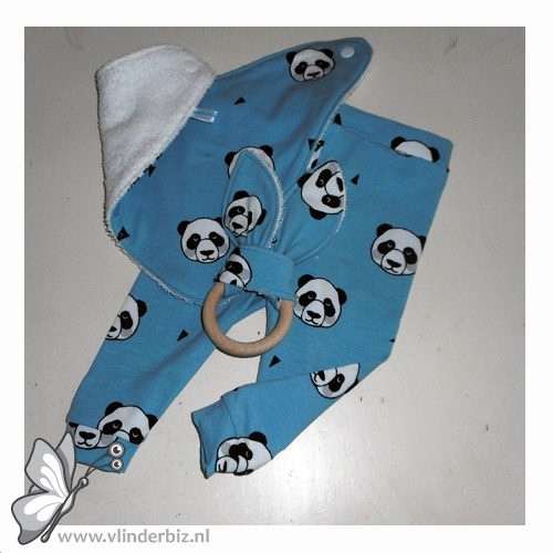 Cadeaupakket wit, blauw met panda's