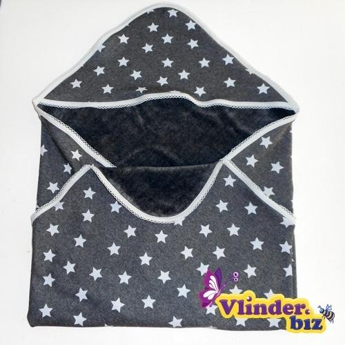 Badcape grijs met witte sterren van zachte knuffelstof