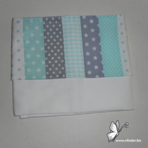 Lakentje patchwork mint grijs wit