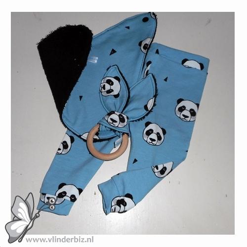 Cadeaupakket zwart, blauw met panda's