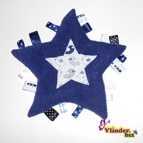 Knuffeldoekje ster donkerblauw en wit