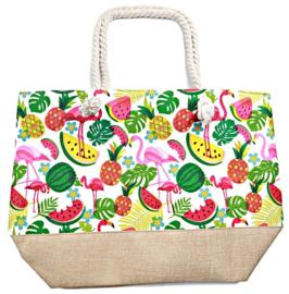 Shopper/ strandtas Flamingo Fruit  LAATSTE EXEMPLAAR!