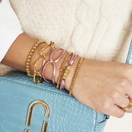 Armband Satin Cube Heart Paars Goud
