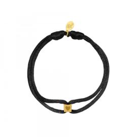 Armband Satin Cube Heart Zwart Goud