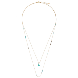 Ketting Detail Lines Turquoise Gold Plated