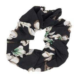 Haar Scrunchie Flower Zwart