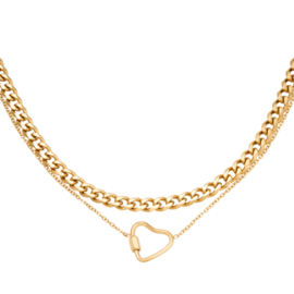 Ketting chainted heart RVS
