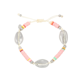 Armbandje Surfing Shell Baby Pink