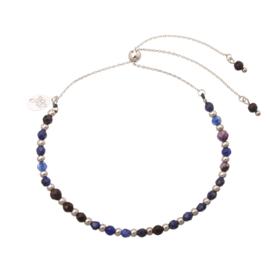 Armband Stylish beads blauw Plated