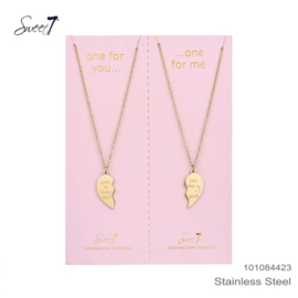 Set Ketting 2 Stuks Love You To The Moon And Back RVS Goud Sweet7