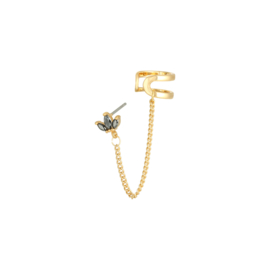 Earcuff Leaves Gold Plated Zwart