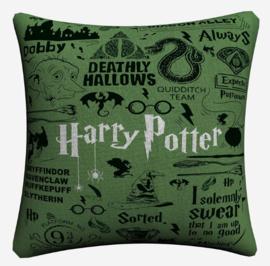 Harry Potter Kussensloop Logo's Groen
