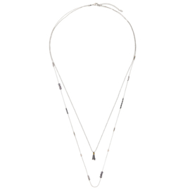 Ketting Detail Lines Grijs Silver Plated