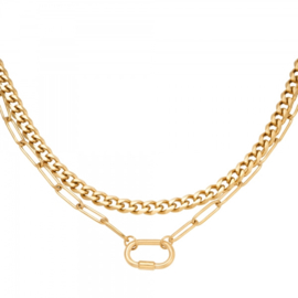Ketting Chains Two in One Goud RVS