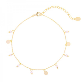 Enkelbandje Beaded Party Roze Gold Plated  LAATSTE EXEMPLAAR!