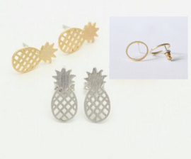 Ear studs Ananas / Circle 3 paar RVS