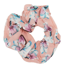 Haar Scrunchie Pastel Flower Roze