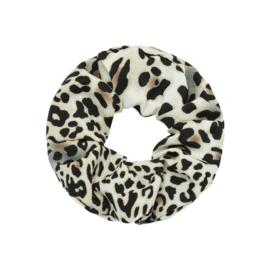 Haar Scrunchie Leopard Wit