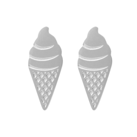 Ear studs Sweet Ice Cream Zilver RVS