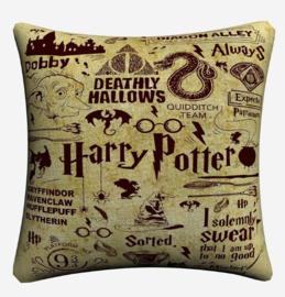 Harry Potter Kussensloop Logo's Creme