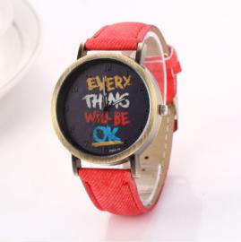 Horloge Everything Rood  LAATSTE EXEMPLAAR!
