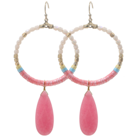 Oorbellen Colourful Beads Roze