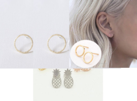 Ear studs Circle / Ananas 3 paar RVS