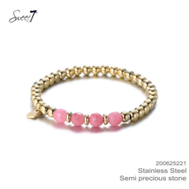 Armband Kralen Roze RVS Sweet7